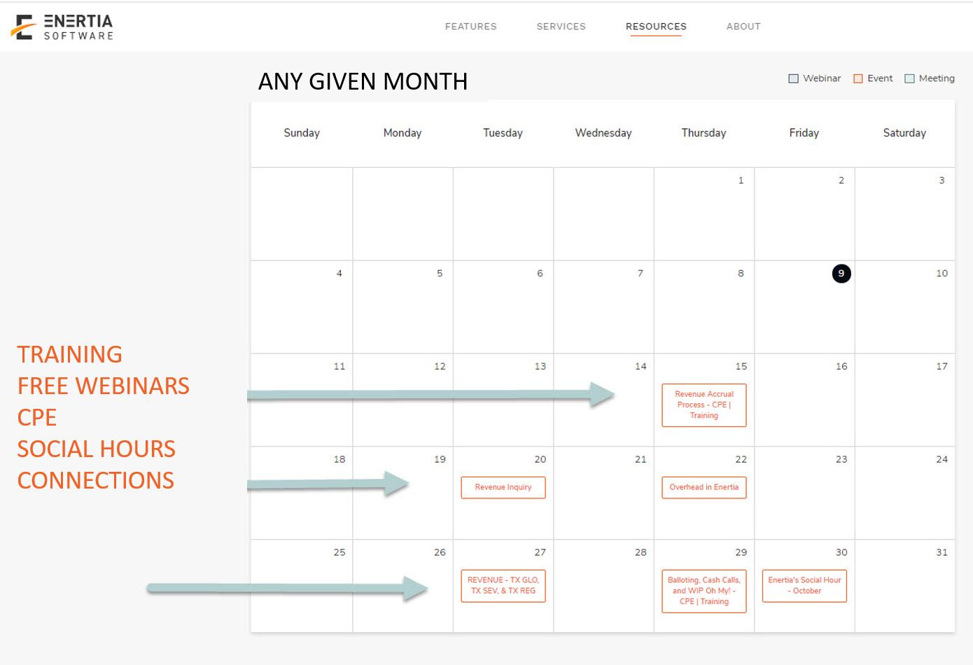 Calendar of Events Enertia Live ANY month